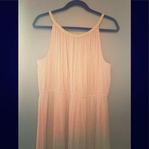 Cream, Long, Dress with Gold, Braided Neckline